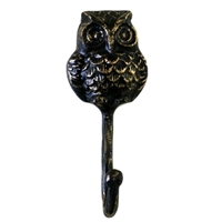 Owl Wall Hook in Distressed Brass Finish