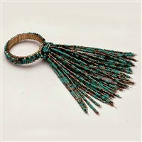Set of Four Teal Beaded Spray Napkin Rings