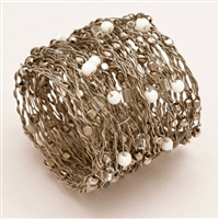 Set of Four Silver Metal Beaded Wire Coil Napkin Rings