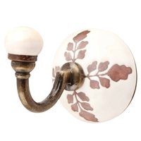 Brown Leaf Etched Ceramic Wall Hook