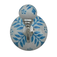 Blue Floral Ceramic Wall Hook