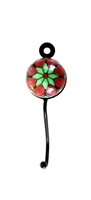 Round Ceramic Tile Hook (Green and Red)