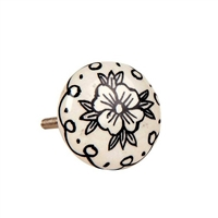 Black floral pattern ceramic knob