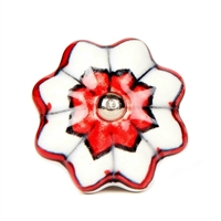 Ceramic Cabinet Knob in Red and White