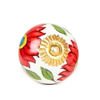 Ceramic knob red flowers