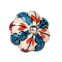 Blue & Orange Ceramic Cabinet Knob