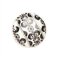 Ceramic Knob with Black & White Floral Motif