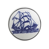 Ceramic Cabinet Knob with Sail Boat Print