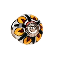 Ceramic Knob (Yellow & Brown Petals)