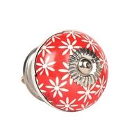 Ceramic Knob (White Flowers on Red)