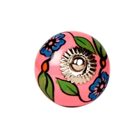 Ceramic Knob with Blue Flowers on Pink Background