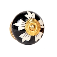 Ceramic Cabinet Knob with Black and White Pattern