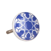 Blue pattern ceramic knob