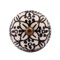 Ceramic Knob with Black & White Floral Design