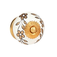 Ceramic knob with golden flower