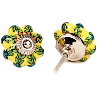 Yellow Melon Knob with Floral Pattern