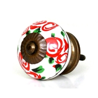 Ceramic knob with red roses
