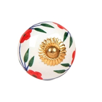 Ceramic knob with red flowers
