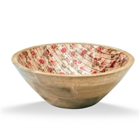 Enamel Wood Salad Bowl