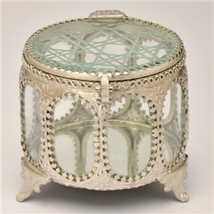 Cylindrical Decorative Glass Keepsake Box