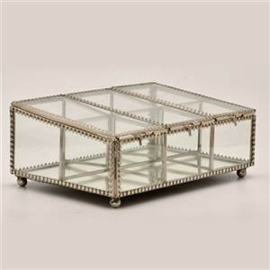 Decorative Six Compartment Glass Keepsake Box