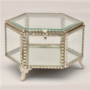 Hexagonal Glass Jewelry & Keepake Box