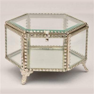 Hexagonal Glass Jewelry & Keepsake Box