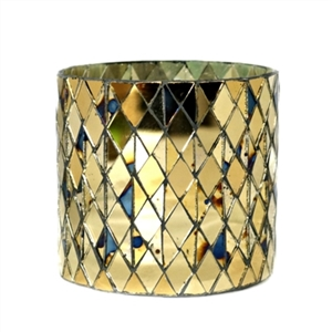 Cylindrical Mosaic Glass Votive Candle Holder