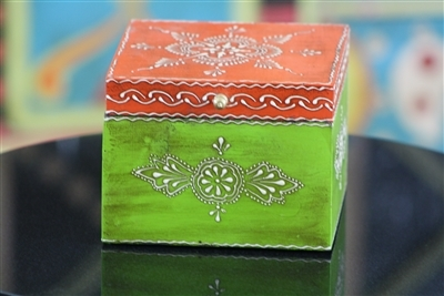 Wooden Jewelry Box (Orange and Green)