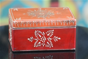 Wooden Jewelry Box (Orange and Red)