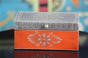 Wooden Jewelry Box (Orange and Grey)