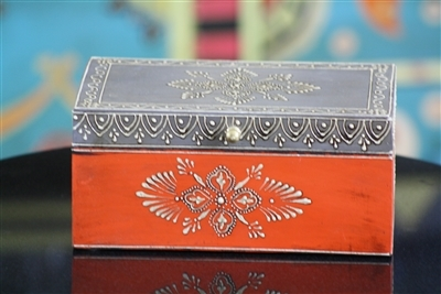 Hand Painted Wooden Jewelry Box in Orange and Grey and Distressed Finish