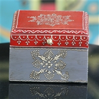 Wooden Jewelry Box (Dark Red and Grey)
