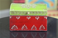 Wooden Jewelry Box (Dark Pink and Green)
