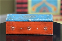 Wooden Jewelry Box (Orange and Blue)