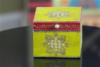Wooden Jewelry Box (Yellow and Dark Red)