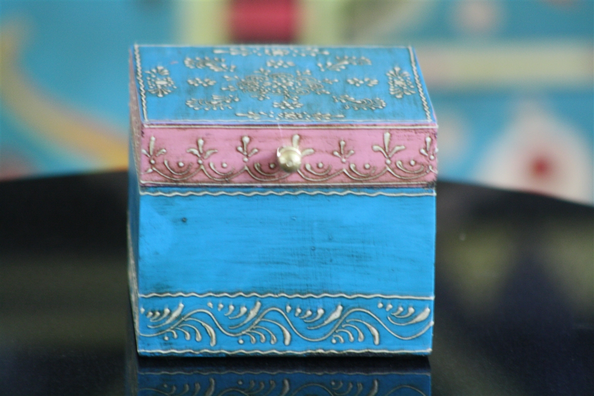 Wooden Hand Painted Jewelry Box in a Beautiful Pink and Blue Color