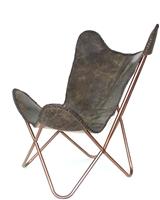 Leather Butterfly Chair (Dark Tan)