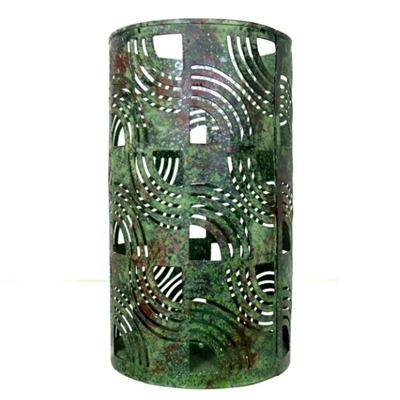 Art Deco Look this art deco style candle holders has a distressed green finish