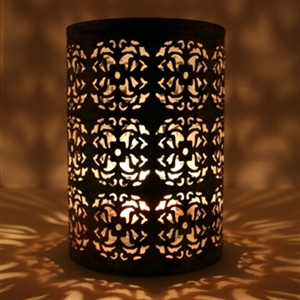 Cylindrical Tealight Candle Holder in Distressed Silver Finish