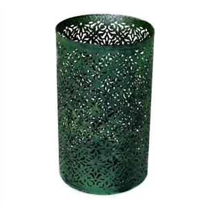 Cylindrical Tealight Candle Holder in Dark Green Finish