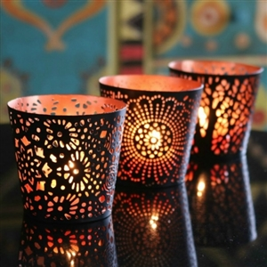 Set of Three Metal Tealight Candle Holders in Black & Copper Finish