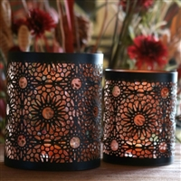 Set of 2 Metal Tealight & Votive Candle Holders