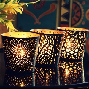 Set of Three Metal Tealight Candle Holders in Black & Gold Finish