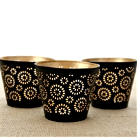 Set of Three Metal Votive Candle Holders in Black & Gold Finish