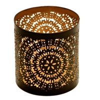 Metal Tealight & Votive Candle Holder (Black & Gold Finish)