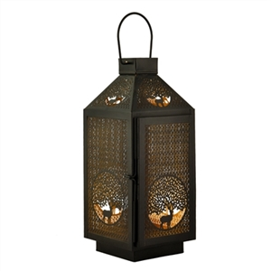 Decorative Deer Cutout Tabletop Metal Lantern