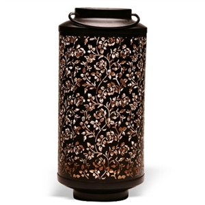 Cylindrical Floral Metal Table Top Lantern