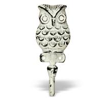 Owl Wall Hook in White Distressed Finish