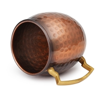 The Classic Hammered Pure Copper Moscow Mule Barrel Mug - 16 oz